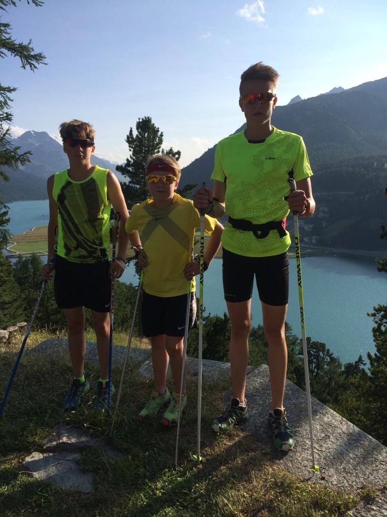 Kisan poikia St Moritzissa kesällä 2015. Julius, Elias ja Lari.